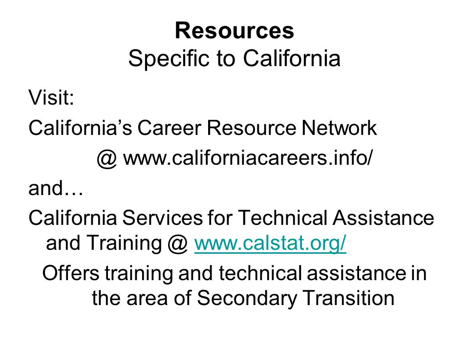 Resources Specific to California