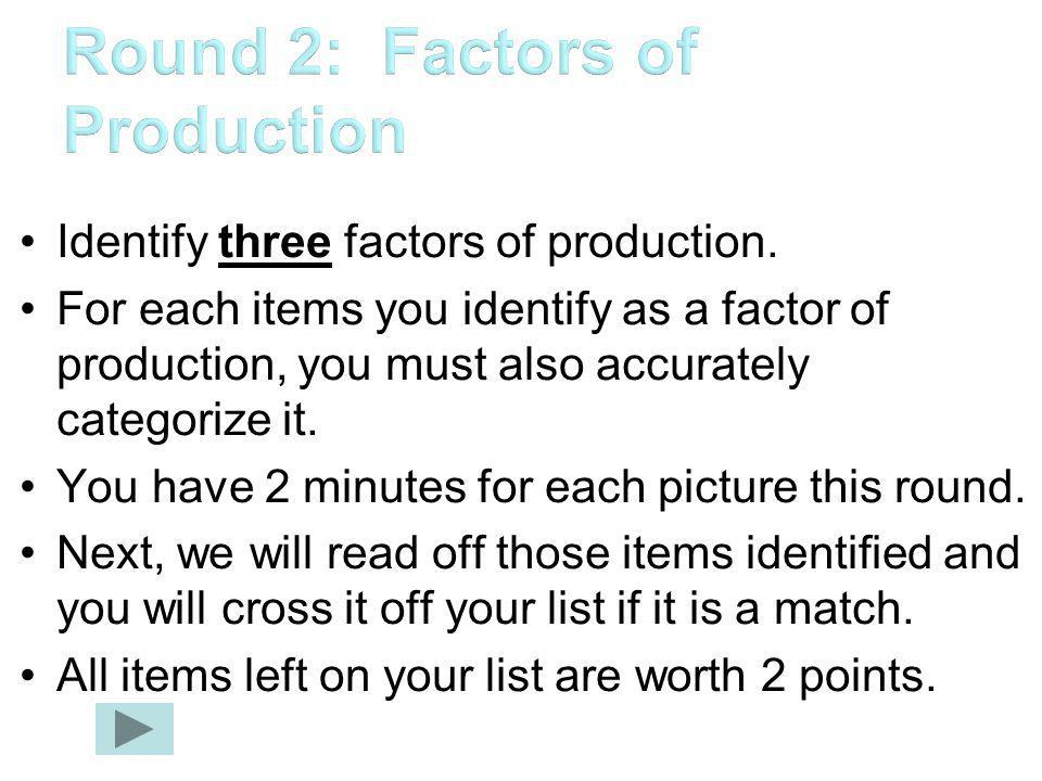 Round 2: Factors of Production