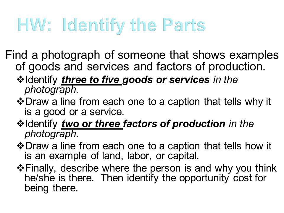 HW: Identify the Parts Find a photograph of someone that shows examples of goods and services and factors of production.
