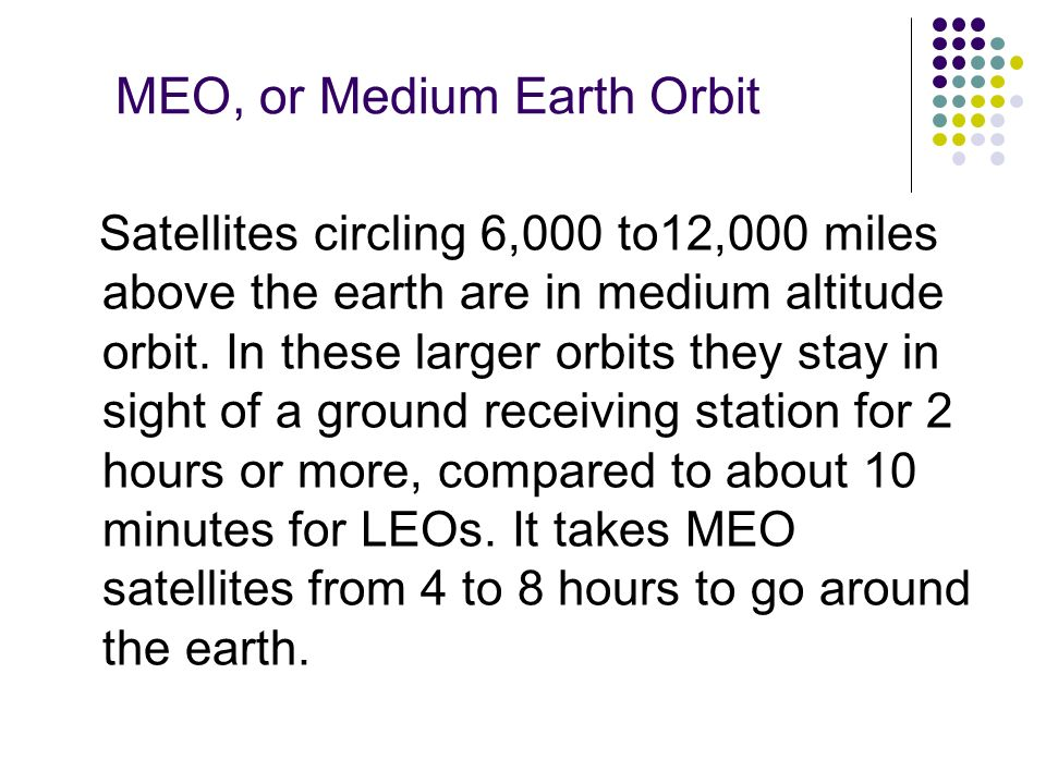 MEO, or Medium Earth Orbit