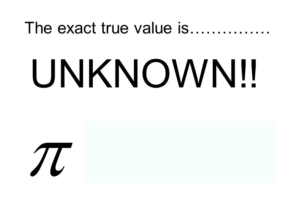 The exact true value is……………