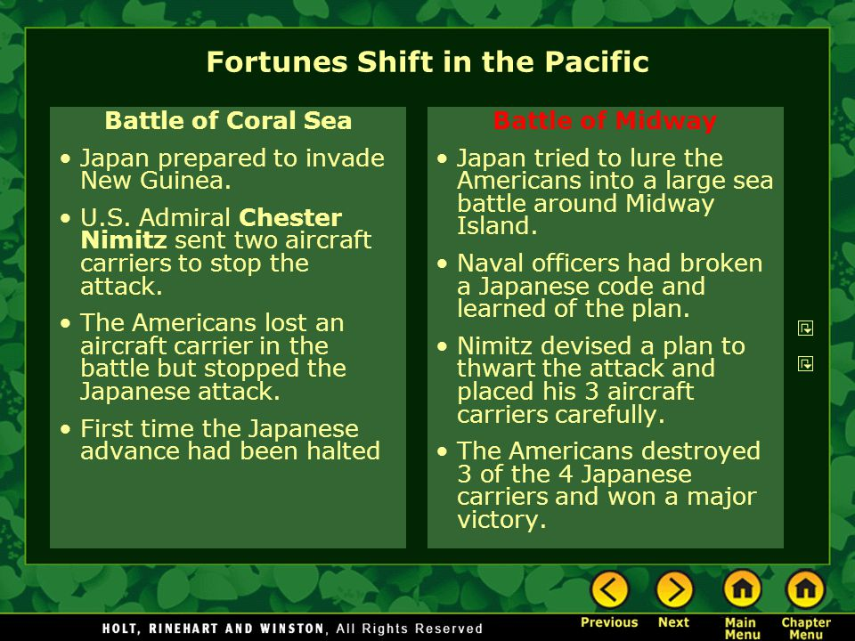 Fortunes Shift in the Pacific