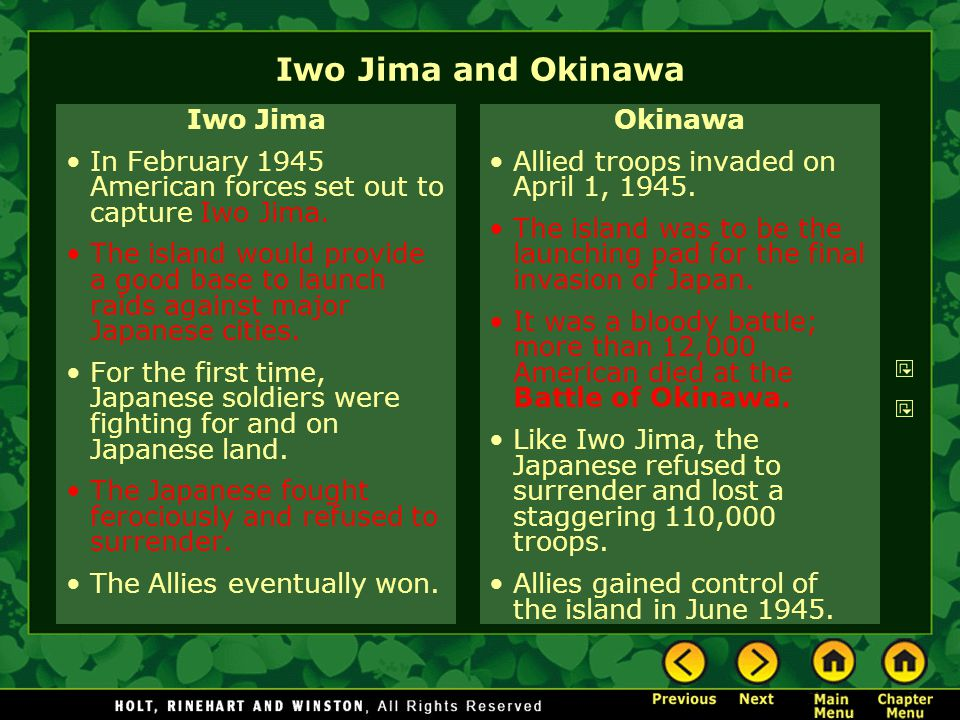 Iwo Jima and Okinawa Iwo Jima