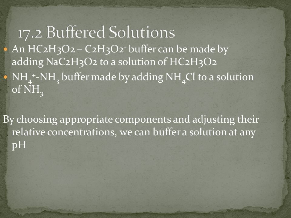 17.2 Buffered Solutions An HC2H3O2 – C2H3O2- buffer can be made by adding NaC2H3O2 to a solution of HC2H3O2.