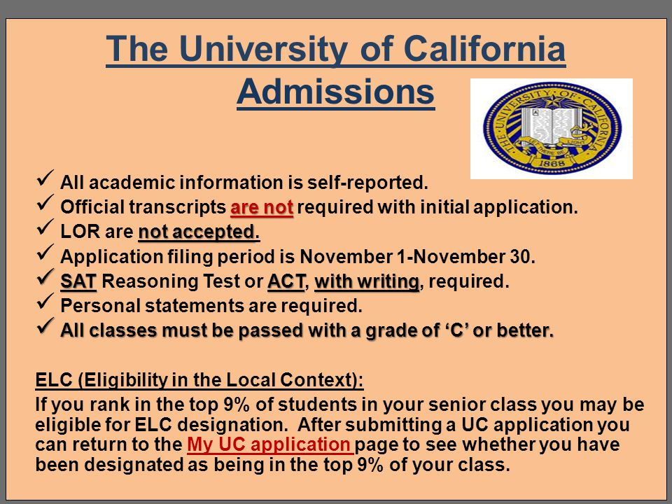 The University of California Admissions