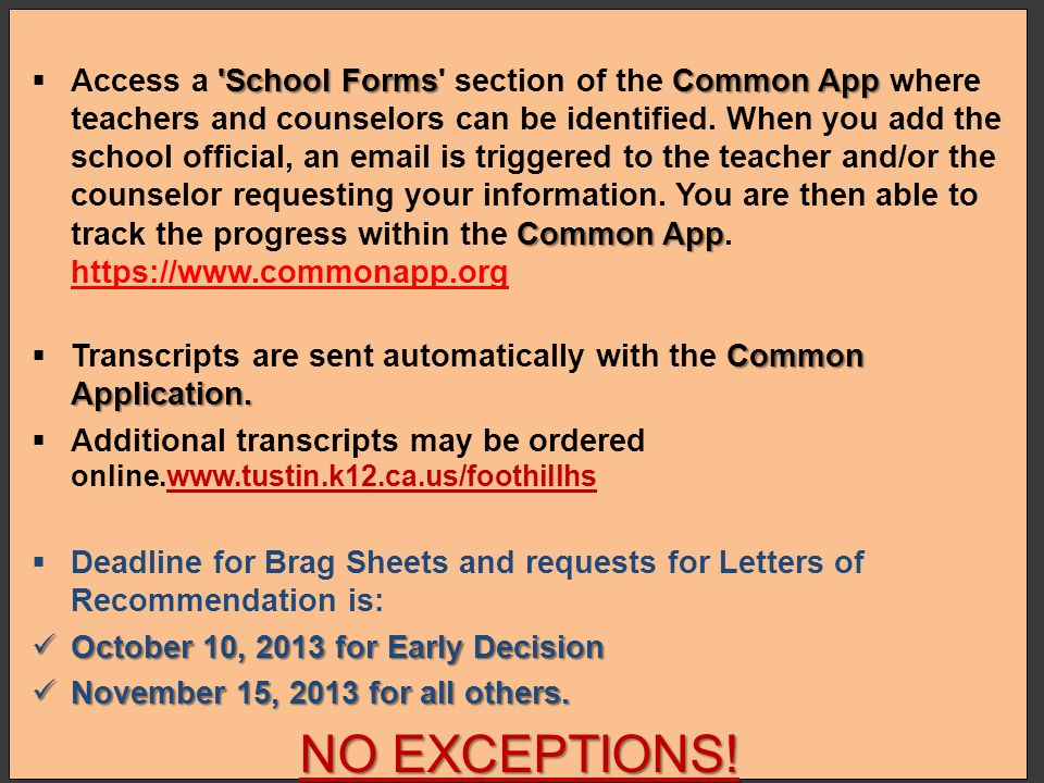 Access a School Forms section of the Common App where teachers and counselors can be identified. When you add the school official, an email is triggered to the teacher and/or the counselor requesting your information. You are then able to track the progress within the Common App. https://www.commonapp.org