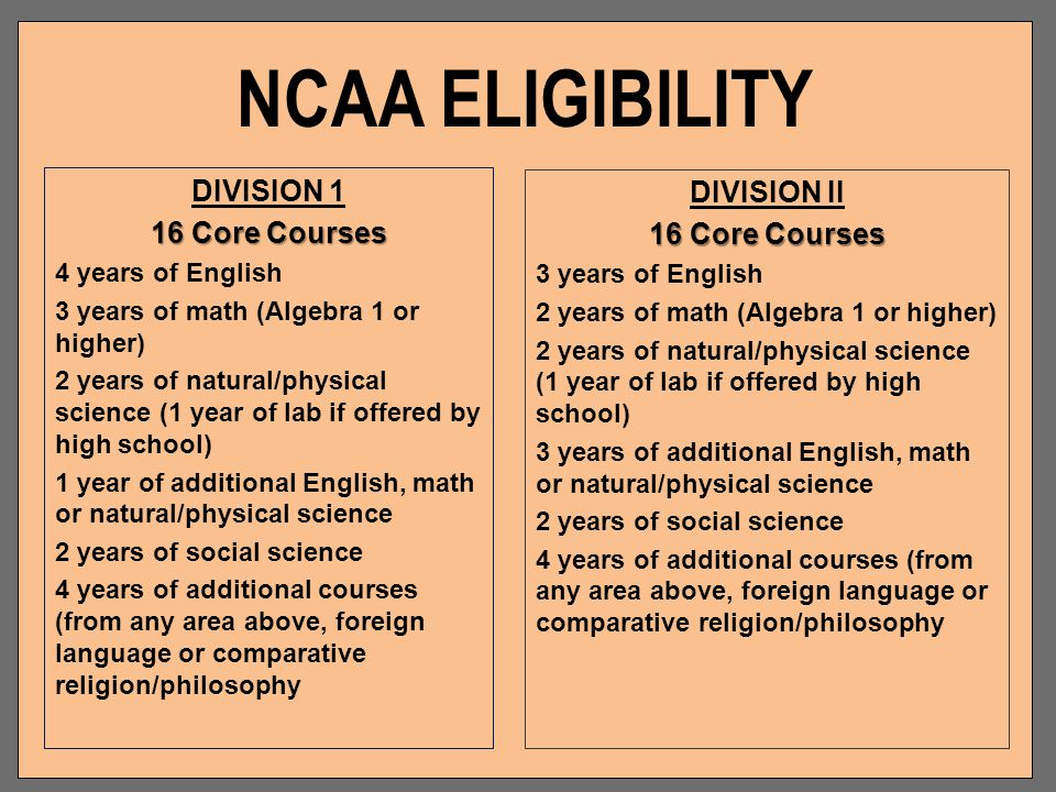 NCAA ELIGIBILITY DIVISION 1 DIVISION II 16 Core Courses