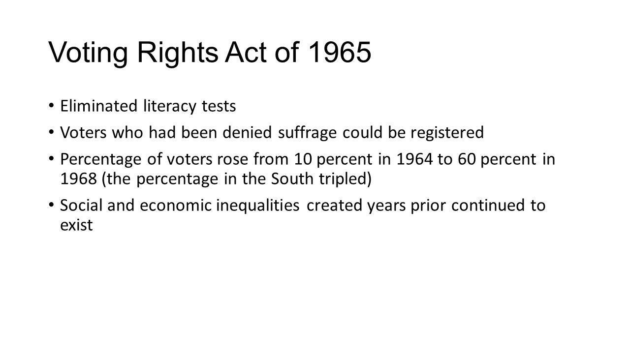 Voting Rights Act of 1965 Eliminated literacy tests