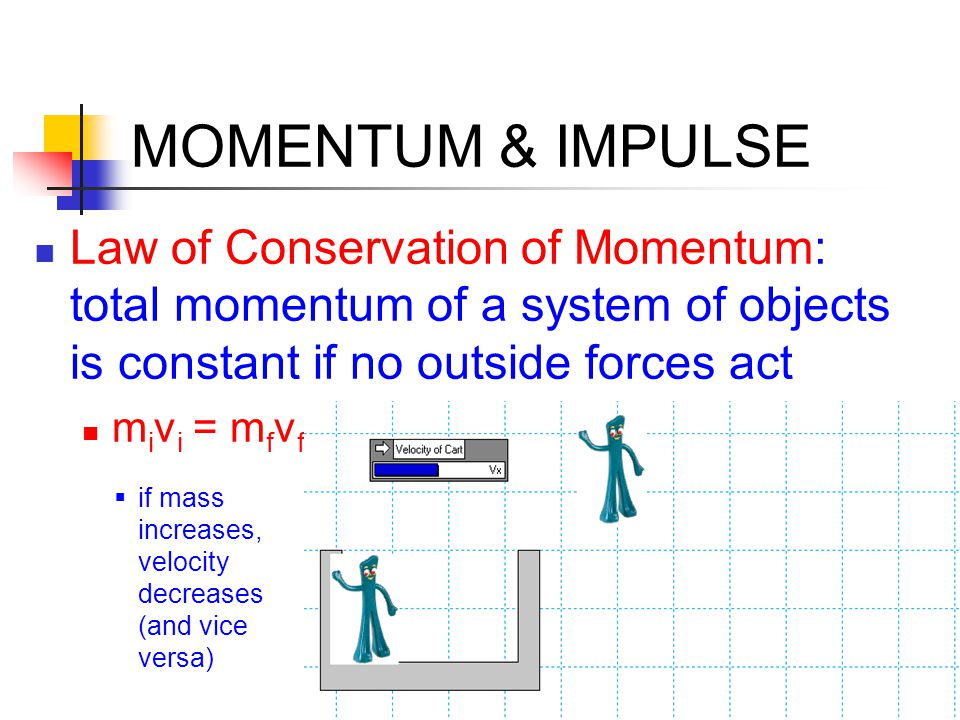 MOMENTUM & IMPULSE Law of Conservation of Momentum: total momentum of a system of objects is constant if no outside forces act.