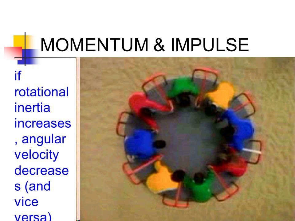 MOMENTUM & IMPULSE if rotational inertia increases, angular velocity decreases (and vice versa)