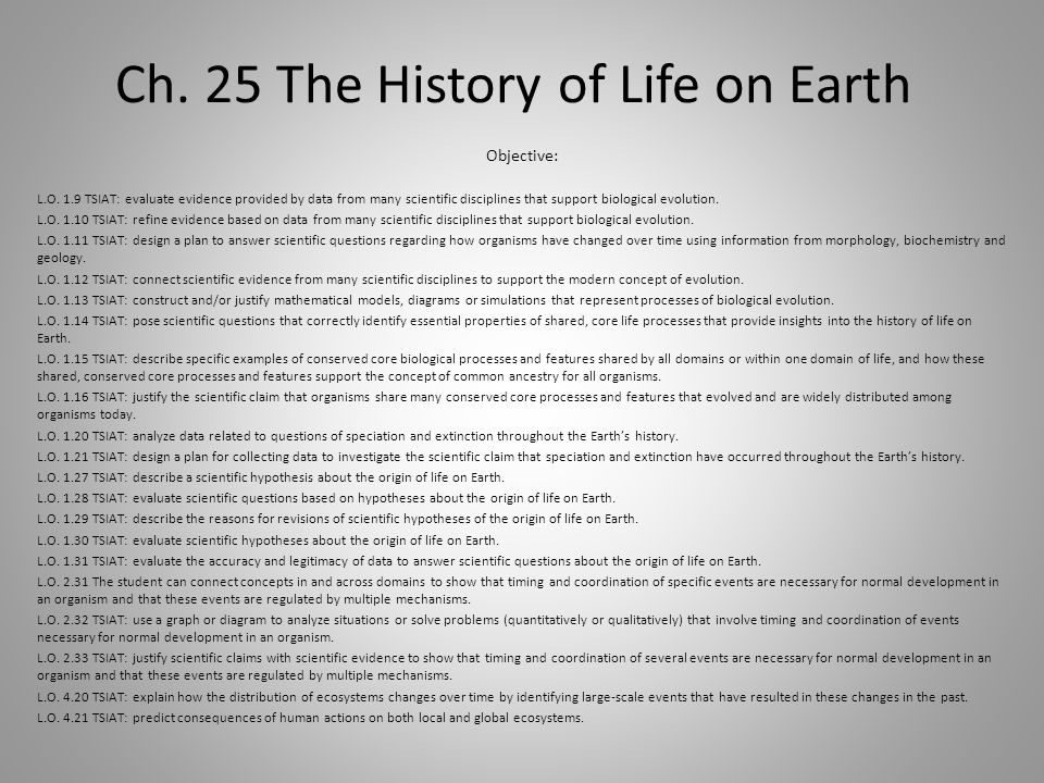 Ch. 25 The History of Life on Earth