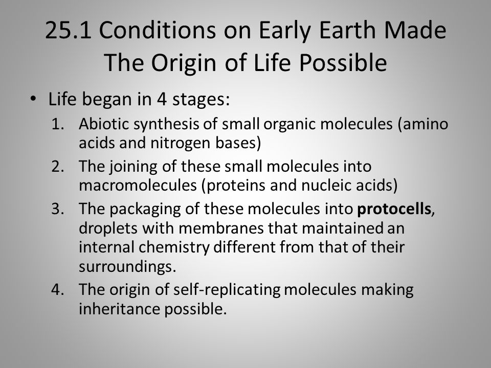 25.1 Conditions on Early Earth Made The Origin of Life Possible