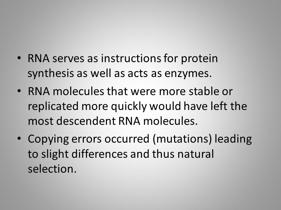 RNA serves as instructions for protein synthesis as well as acts as enzymes.