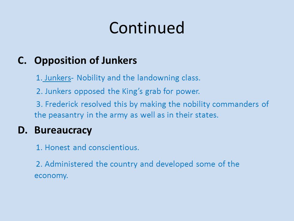 Continued Opposition of Junkers