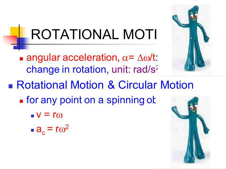 ROTATIONAL MOTION Rotational Motion & Circular Motion