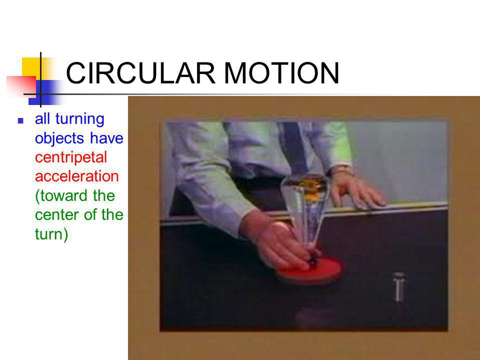 CIRCULAR MOTION all turning objects have centripetal acceleration (toward the center of the turn)