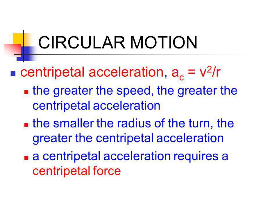 CIRCULAR MOTION centripetal acceleration, ac = v2/r