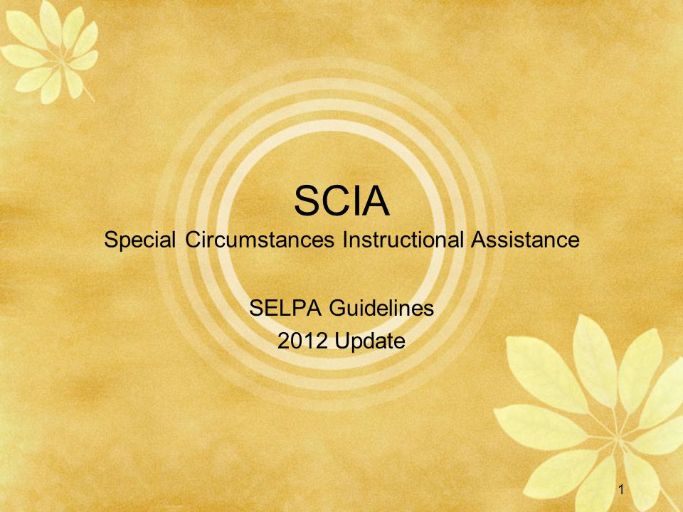 SCIA Special Circumstances Instructional Assistance