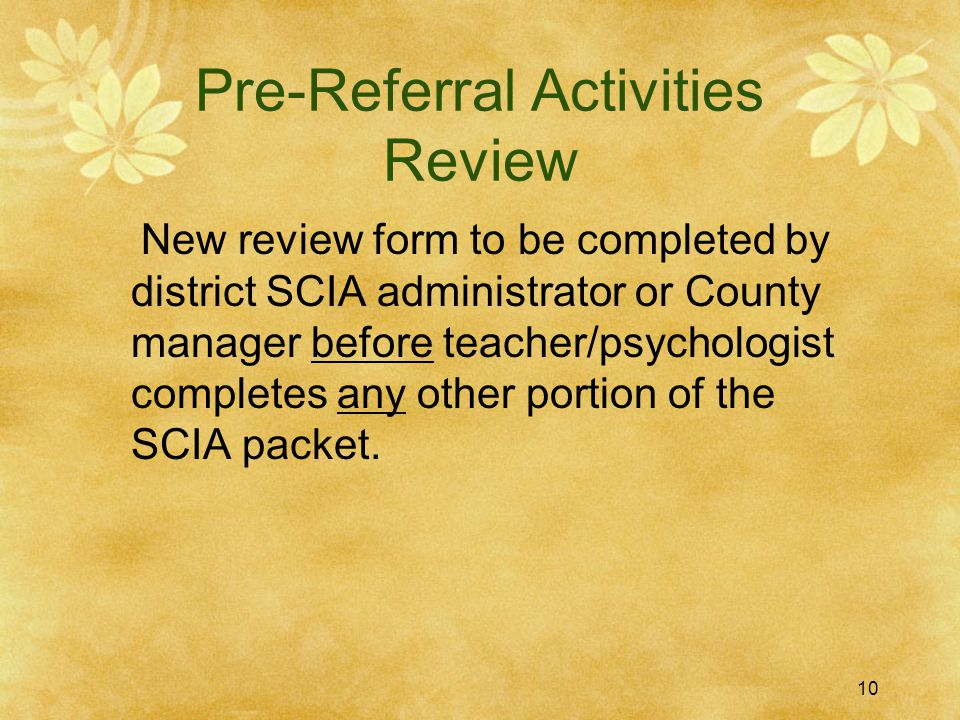 Pre-Referral Activities Review