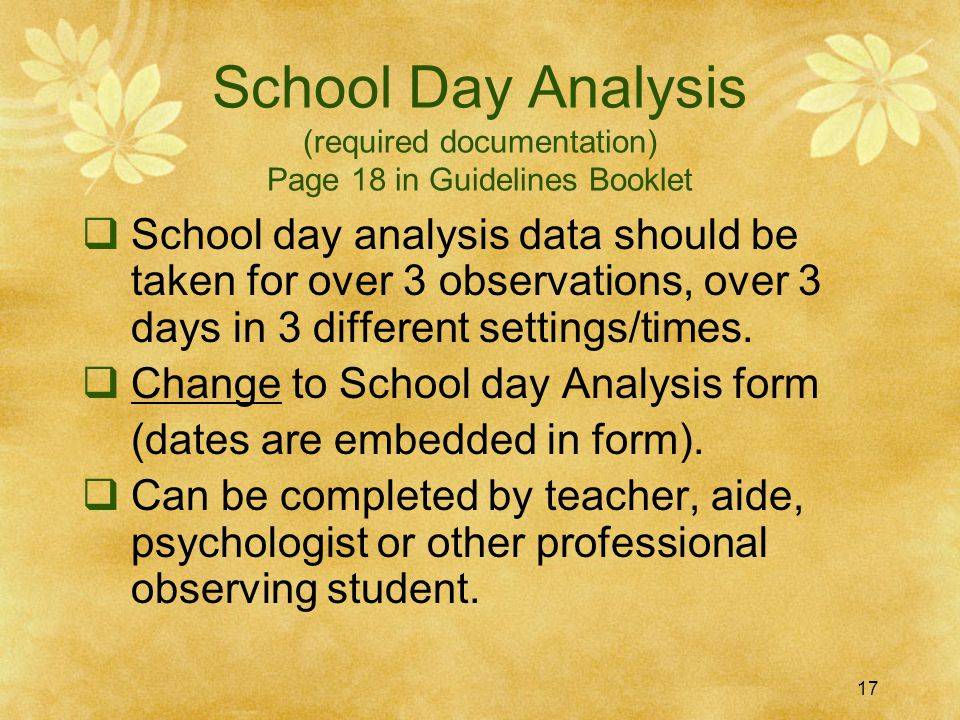 School Day Analysis (required documentation) Page 18 in Guidelines Booklet
