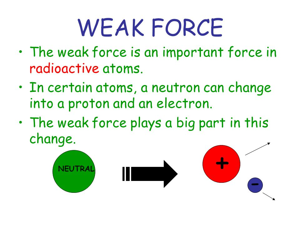WEAK FORCE The weak force is an important force in radioactive atoms. In certain atoms, a neutron can change into a proton and an electron.