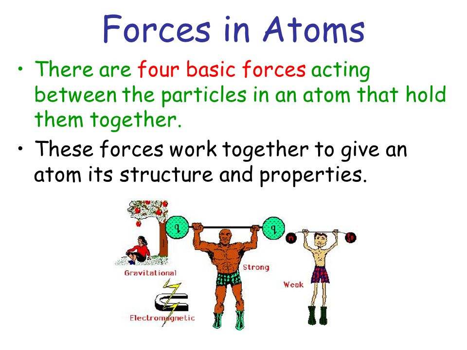 Forces in Atoms There are four basic forces acting between the particles in an atom that hold them together.
