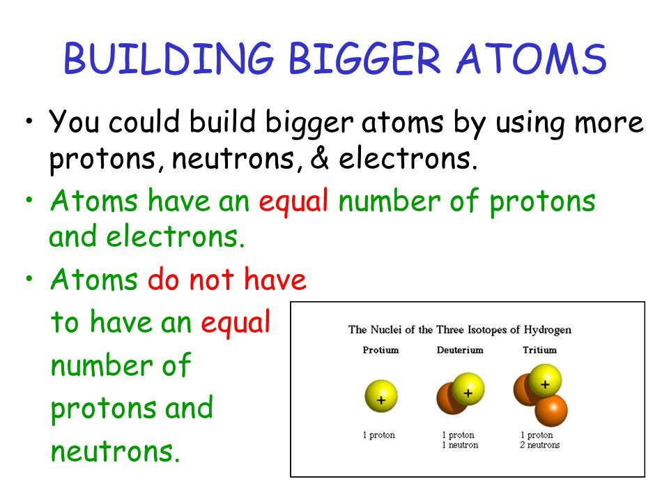 BUILDING BIGGER ATOMS You could build bigger atoms by using more protons, neutrons, & electrons.