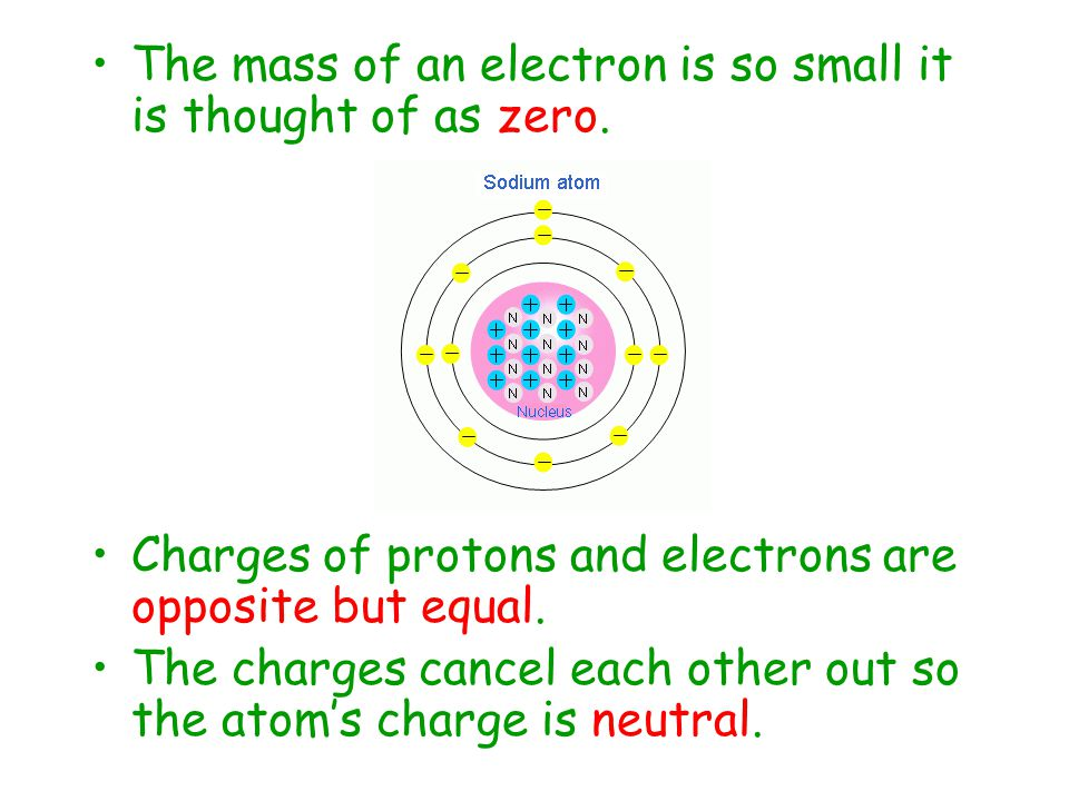 The mass of an electron is so small it is thought of as zero.