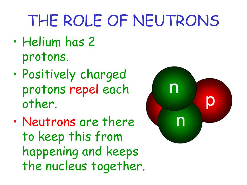 THE ROLE OF NEUTRONS Helium has 2 protons.