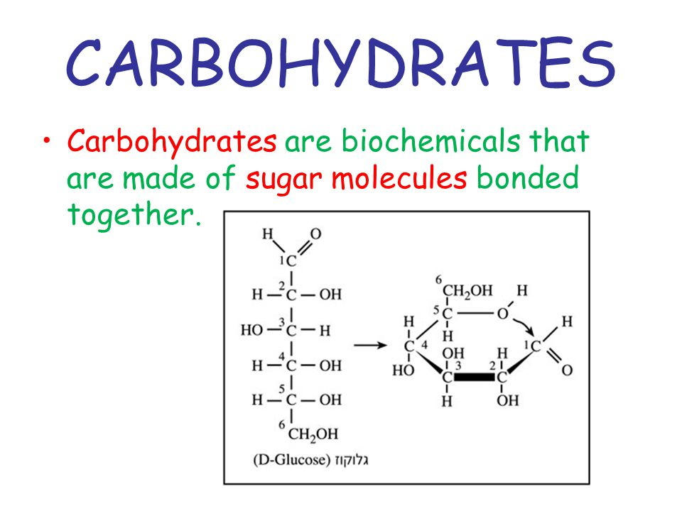 CARBOHYDRATES Carbohydrates are biochemicals that are made of sugar molecules bonded together.