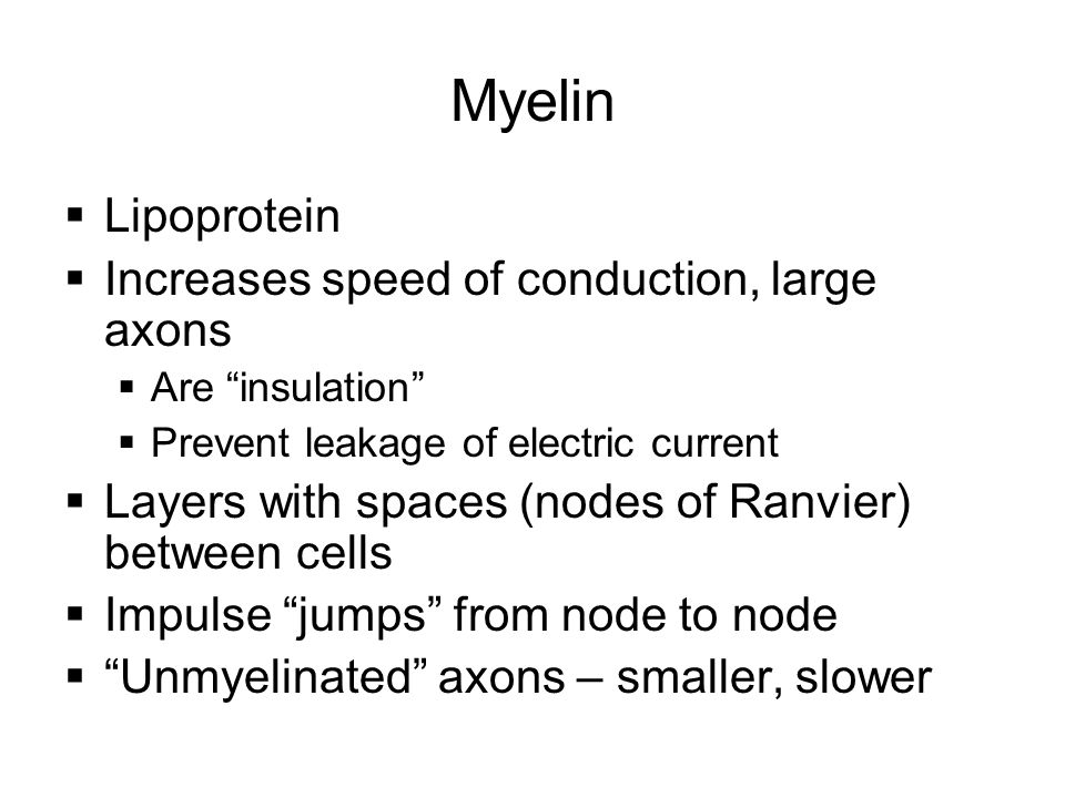 Myelin Lipoprotein Increases speed of conduction, large axons