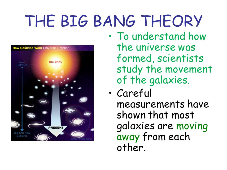 THE BIG BANG THEORY To understand how the universe was formed, scientists study the movement of the galaxies.