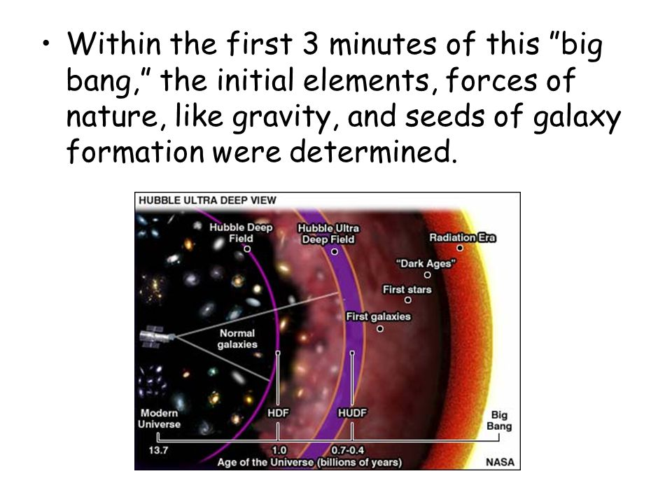 Within the first 3 minutes of this big bang, the initial elements, forces of nature, like gravity, and seeds of galaxy formation were determined.