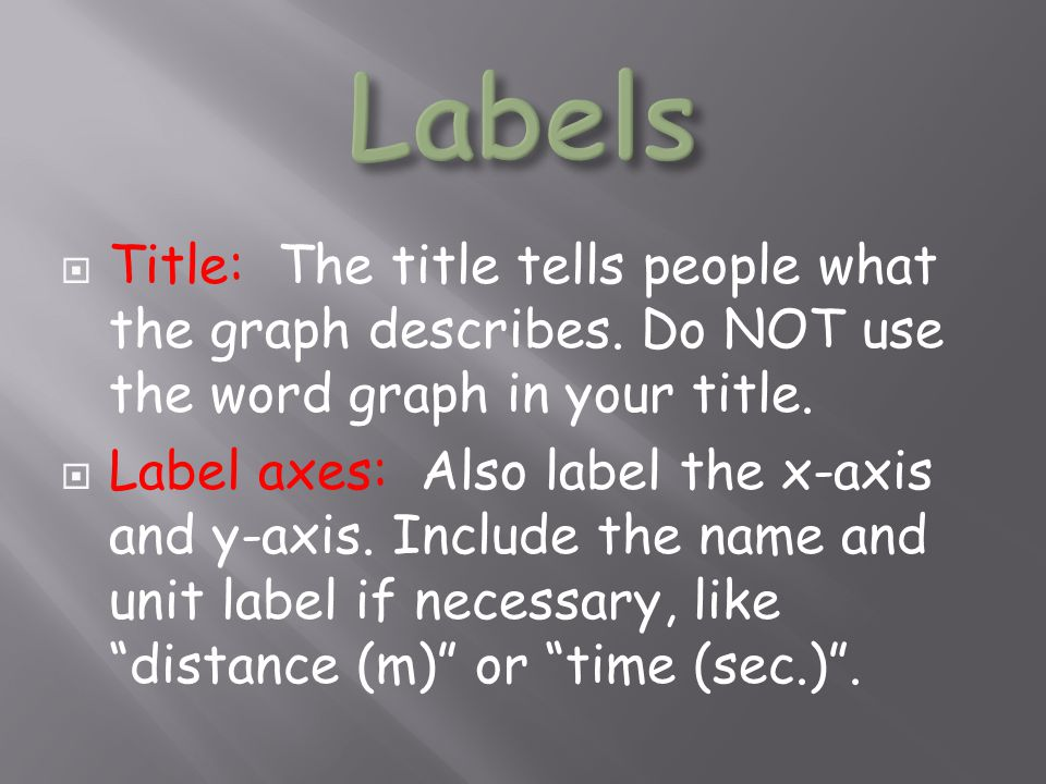 Labels Title: The title tells people what the graph describes. Do NOT use the word graph in your title.