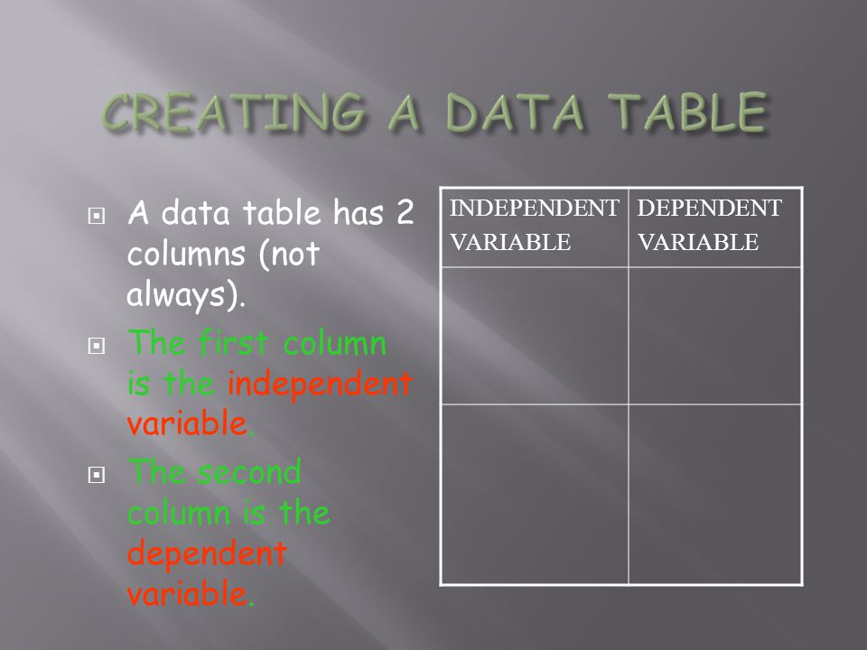 CREATING A DATA TABLE A data table has 2 columns (not always).