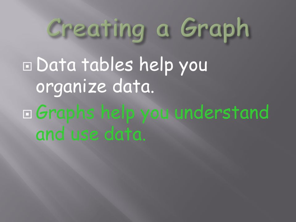 Creating a Graph Data tables help you organize data.