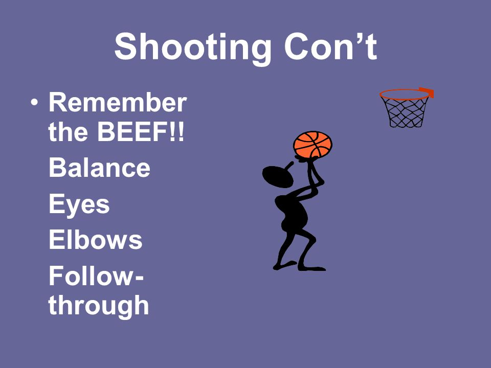 Shooting Con't Remember the BEEF!! Balance Eyes Elbows Follow-through