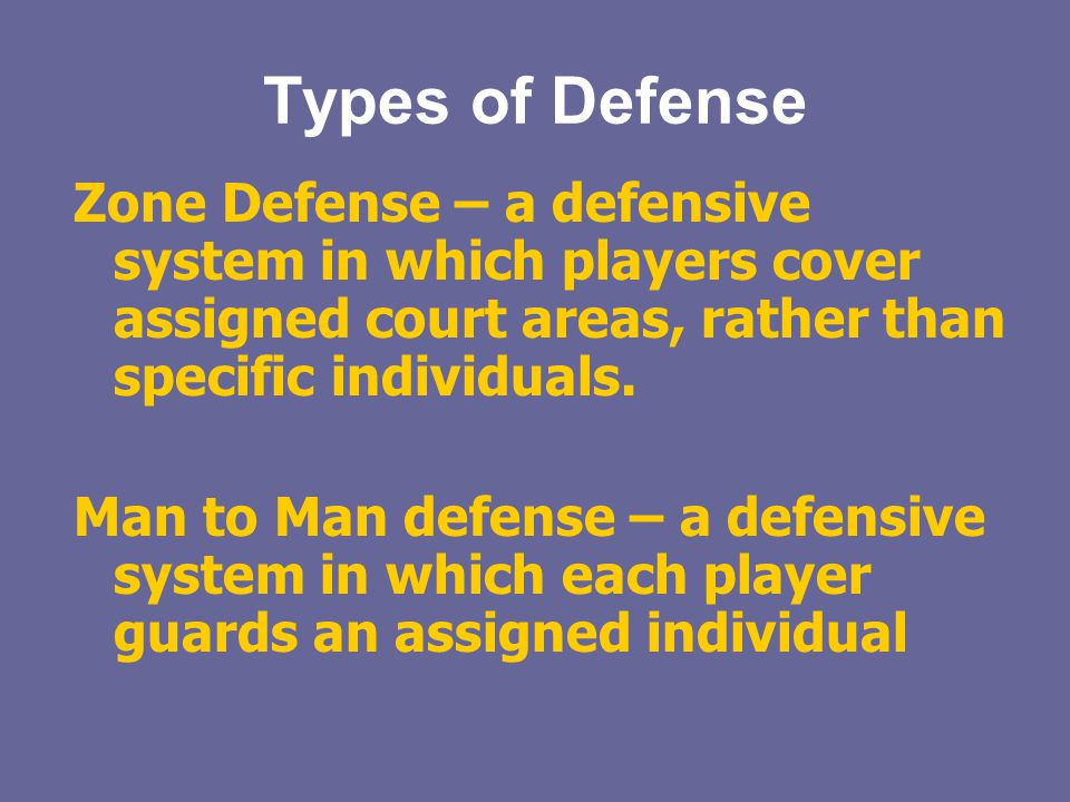 Types of Defense Zone Defense – a defensive system in which players cover assigned court areas, rather than specific individuals.
