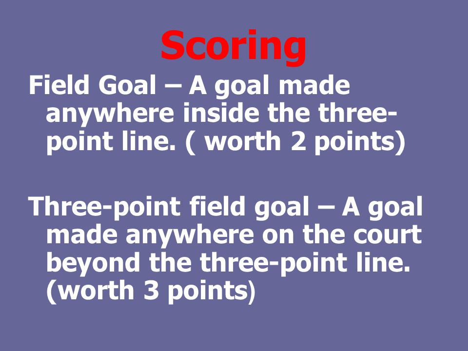 Scoring Field Goal – A goal made anywhere inside the three-point line. ( worth 2 points)