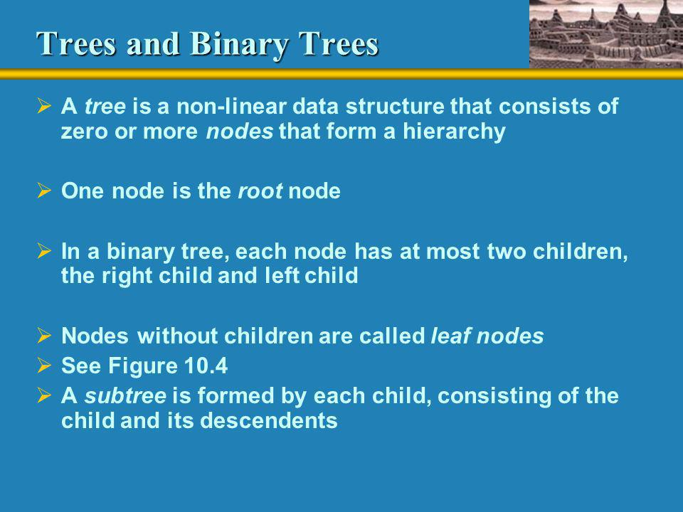 Trees and Binary Trees A tree is a non-linear data structure that consists of zero or more nodes that form a hierarchy.