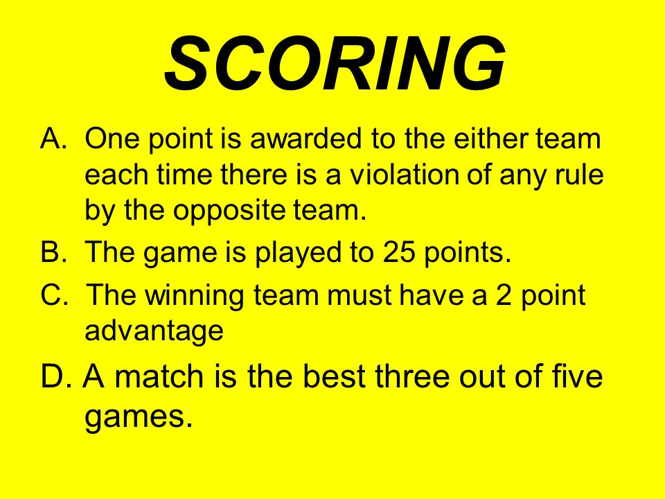 SCORING D. A match is the best three out of five games.