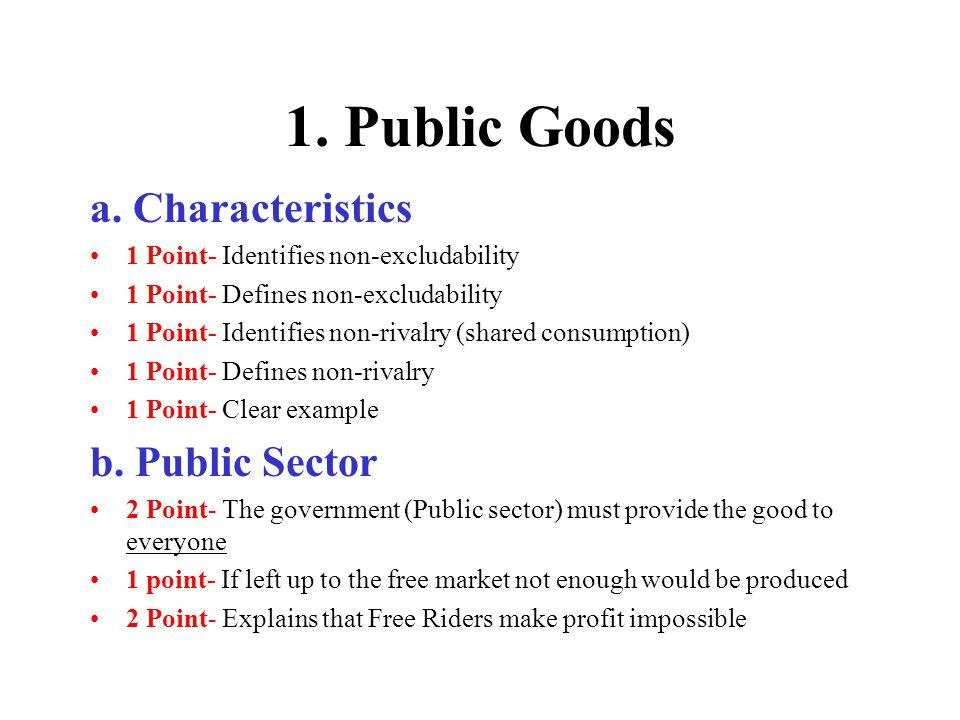 1. Public Goods a. Characteristics b. Public Sector