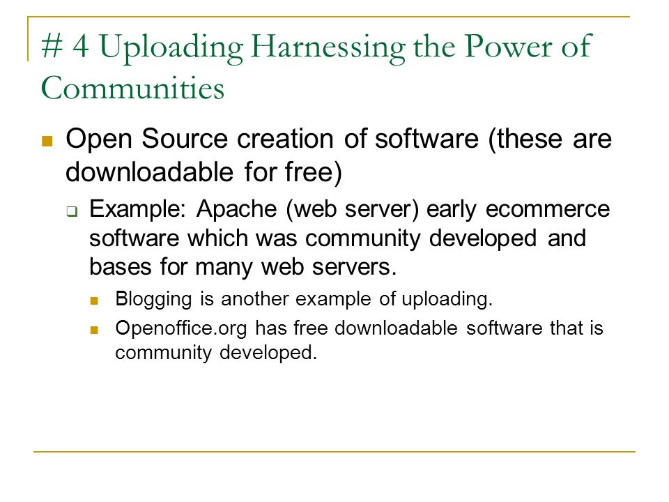 # 4 Uploading Harnessing the Power of Communities