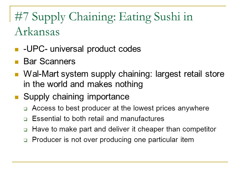 #7 Supply Chaining: Eating Sushi in Arkansas