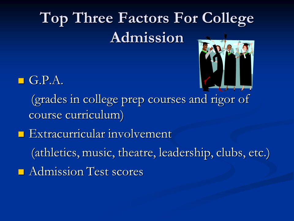 Top Three Factors For College Admission