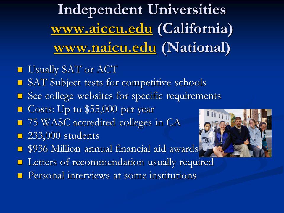 Independent Universities www. aiccu. edu (California) www. naicu