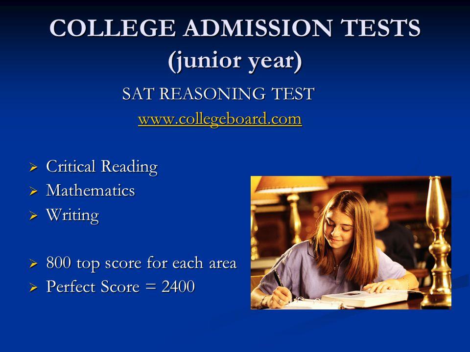 COLLEGE ADMISSION TESTS (junior year)