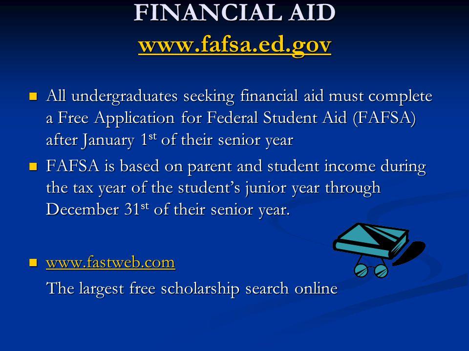 FINANCIAL AID www.fafsa.ed.gov