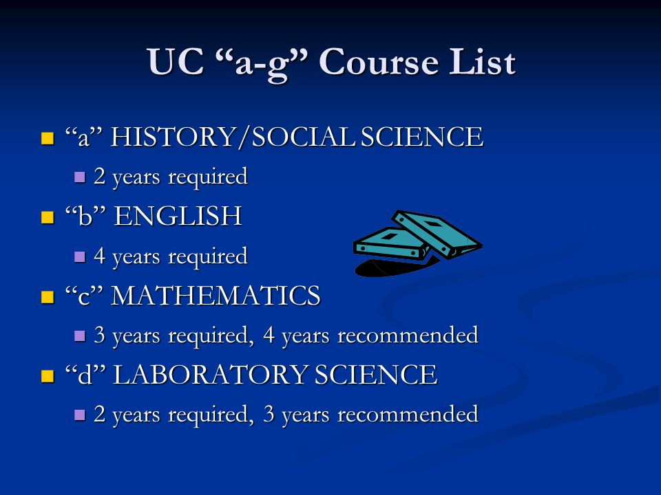 UC a-g Course List a HISTORY/SOCIAL SCIENCE b ENGLISH
