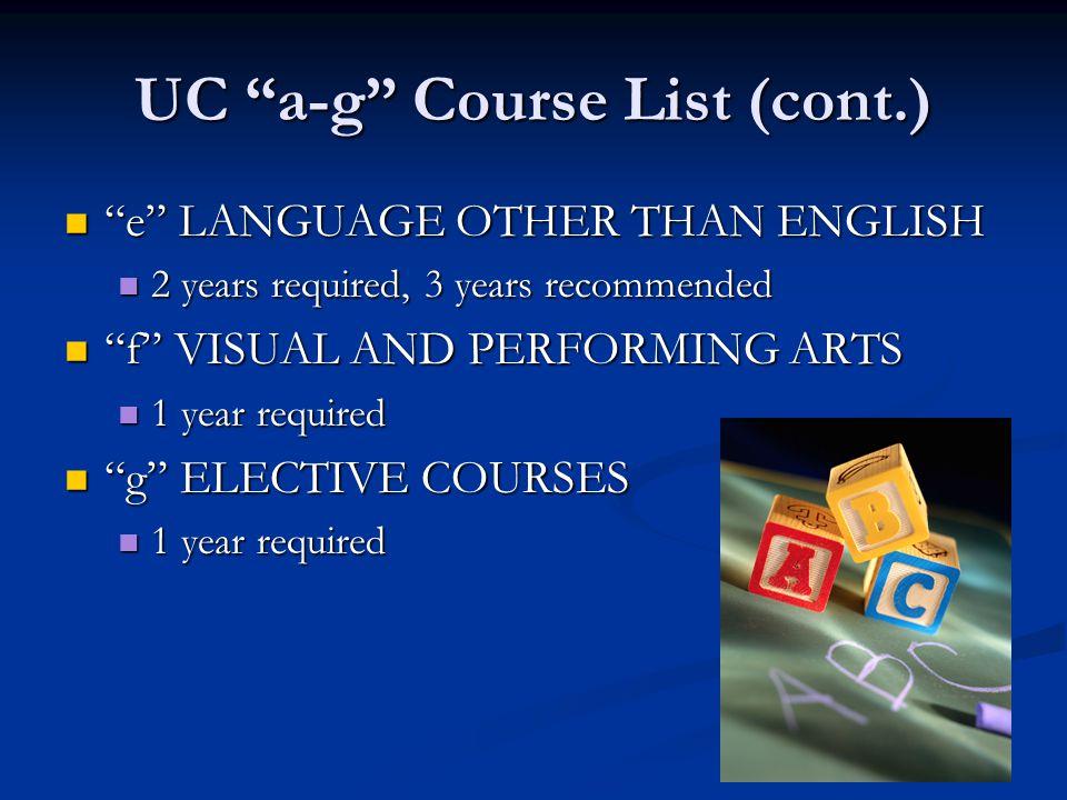 UC a-g Course List (cont.)